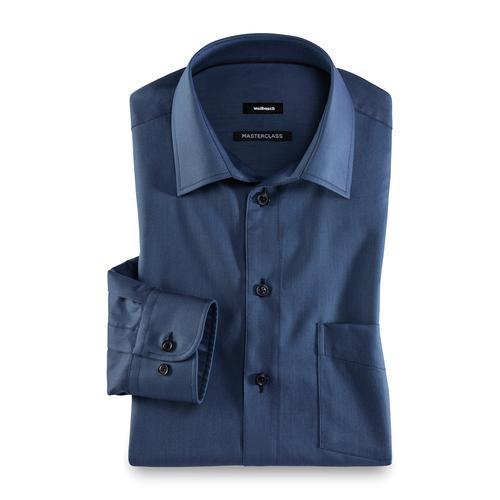 Masterclass Herren Hemd Masterclass einfarbig Uni Blau