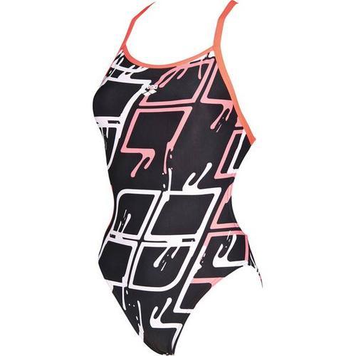 ARENA Damen Wettkampf Badeanzug Blare Lining, Größe 38 in BLACK-SHINY PINK