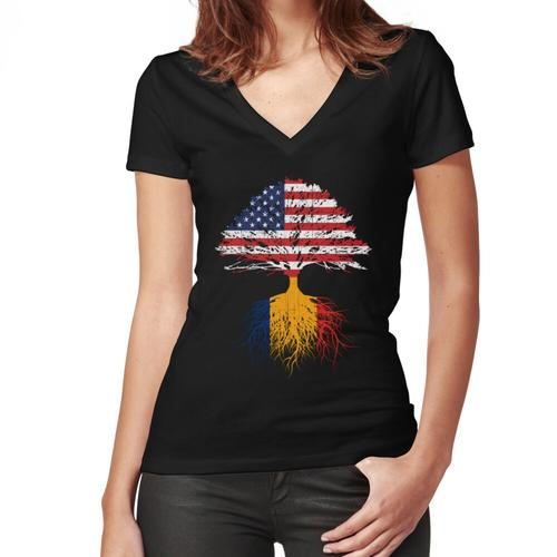 Romanian Roots, Romanian American, Romanian Grown, Romania USA Flags, Women's Fitted V-Neck T-Shirt