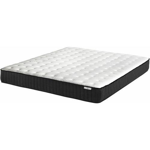 Taschenfederkernmatratze Schwarz mit Weiß 160x200 cm mit Latexschicht/Bezug aus Lyocell-Stoff