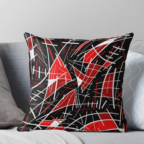 Red and black abstraction Throw Pillow