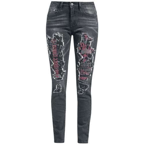 Rock Rebel by EMP Jeans mit hinterlegten Cut-Outs Damen-Jeans - schwarz