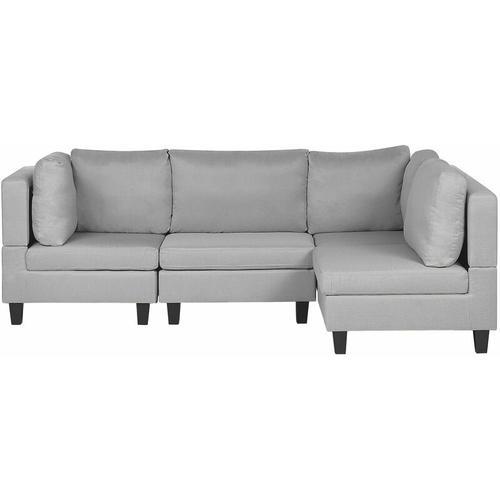 Ecksofa Hellgrau Polsterbezug L-förmig 4-Sitzer Modulsofa Wohnzimmermöbel Modern Wohnzimmer Salon