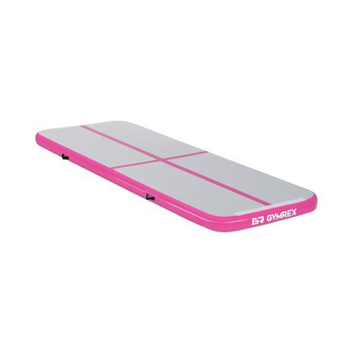 Gymrex Aufblasbare Turnmatte - Airtrack - 300 x 100 x 10 cm - 150 kg - pink/grau GR-ATM3