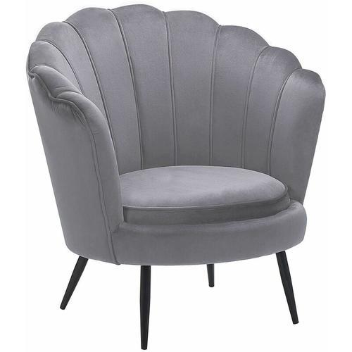 Beliani - Sessel Grau Samtstoff Metallbeine Retro-Stil Wohnzimmer