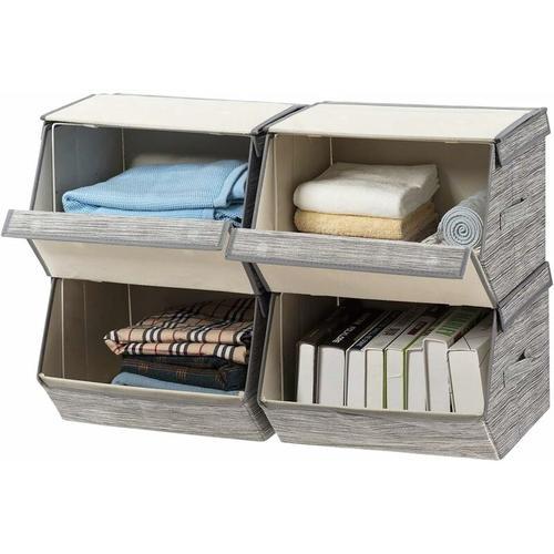 4er Set Aufbewahrungsboxen, Aufbewahrungskorb Leinen, Aufbewahrungswuerfel stapelbar,