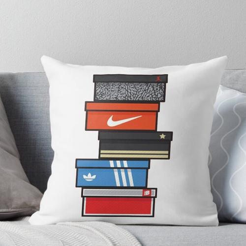 sneaker box Throw Pillow