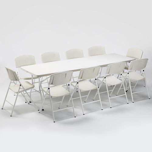 Set Rechteckigen Tisch 240x76 und 10 Klappstühle Campinggarten Rushmore