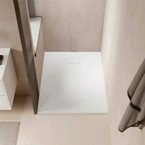 Duschwanne bodengleich PIATTO aus SoliCast® weiß 80 cm x 120 cm