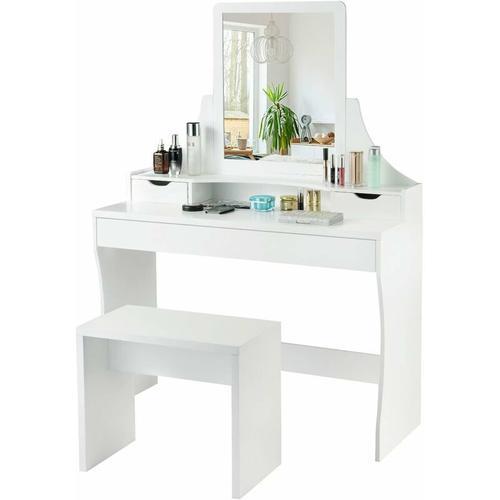 Schminktisch Weiss, Make-up Tisch, Frisiertisch Holz, Frisierkommode, Kosmetiktisch mit Spiegel und
