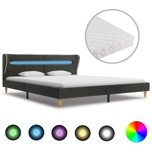 Bett mit LED und Matratze Dunkelgrau Sackleinen 160 x 200 cm VD20837 - Hommoo