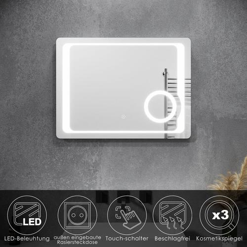 Badezimmerspiegel Badspiegel mit LED Beleuchtung kaltweiß 80x60cm Touch Schalter Rasiersteckdose 3x