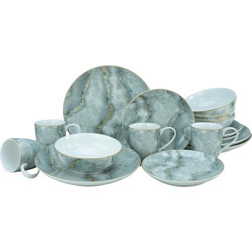 Leonique Kombiservice Claudine, (Set, 16 tlg.), Marmor-Sturktur grau Geschirr-Sets Geschirr, Porzellan Tischaccessoires Haushaltswaren