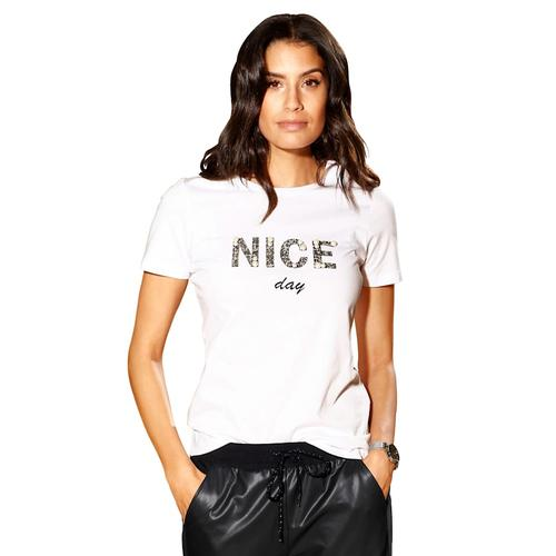 AMY VERMONT, Shirt mit Schriftzug, weiß