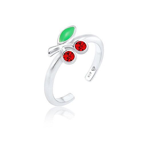 Elli Ring Kinder Kirsche Kristalle 925 Silber Ringe silber Mädchen Kinder