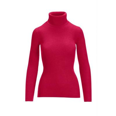 Boston Proper - Beyond Basics Ribbed Turtleneck Sweater - Raspberry - Small