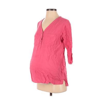 Motherhood Long Sleeve Blouse: Pink Tops - Size Small Maternity