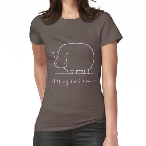 Happypotamus - Pale print for dark t-shirts Women's Fitted T-Shirt