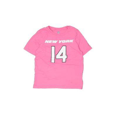 NFL Short Sleeve T-Shirt: Pink Solid Tops - Size 7