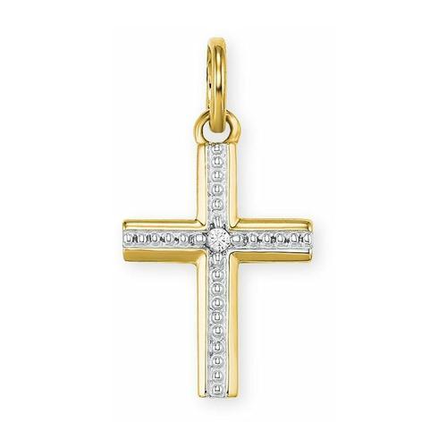 Anhänger für Damen, Gold 585, Zirkonia Kreuz amor Gold
