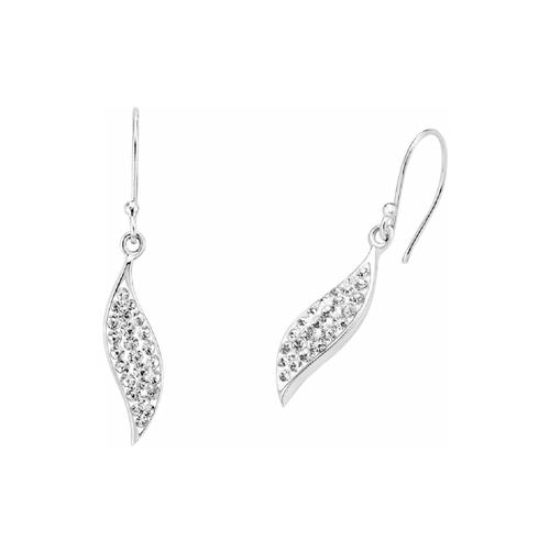 Ohrring für Damen, Sterling Silber 925, Kristallglas amor Silber