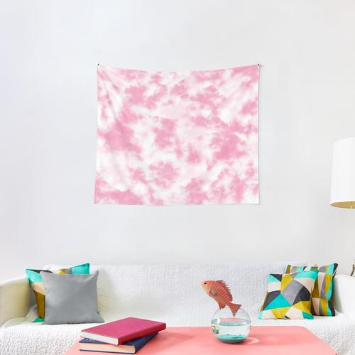 Warm Pink Clouds Tie Dye Wall Tapestry