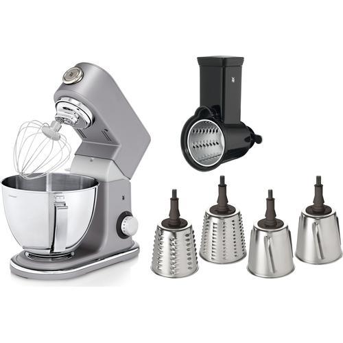 WMF Küchenmaschine Profi Plus, 1000 W, 5 l Schüssel, Ganzmetallgehäuse, 4 auswechselbaren Cormargan Schneideinsätzen grau Küchenmaschinen SOFORT LIEFERBARE Haushaltsgeräte