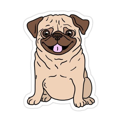 cute pug sticker Sticker