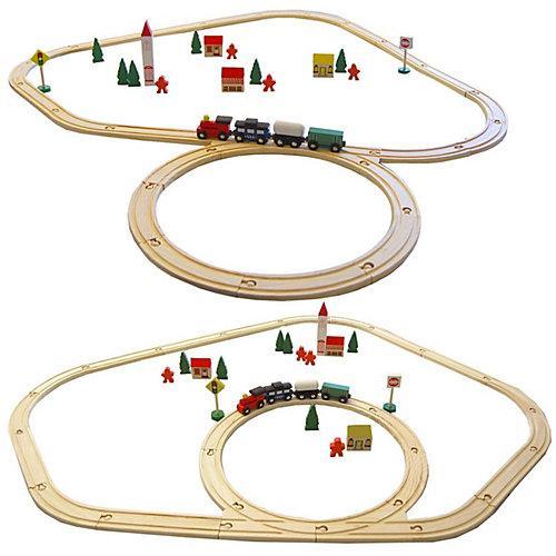 Holzeisenbahn Set 48 Teile mit Zubehör mehrfarbig