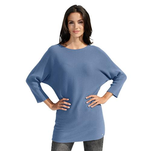 Amy Vermont Fledermauspullover, mit Fledermausärmel blau Damen Rundhalspullover Pullover Fledermauspullover