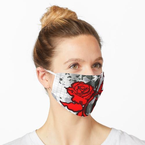 Papierkorb-Kunst-rote Rose Maske