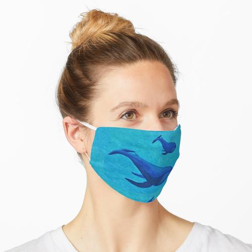 Aquarell Blauwal Mutter und Baby Maske