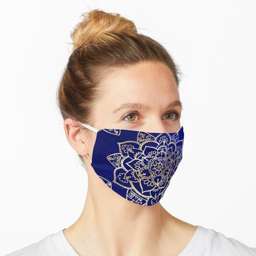 Handgemachtes Mandala Gold Blau Maske