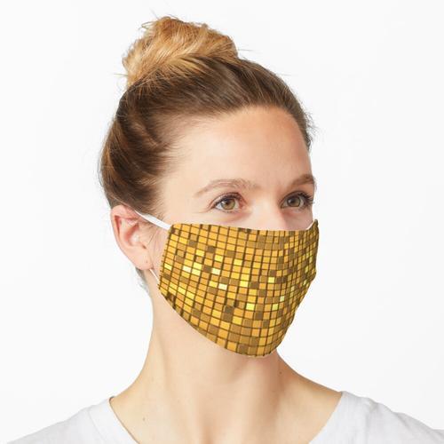 Goldene glänzende Discokugel Maske