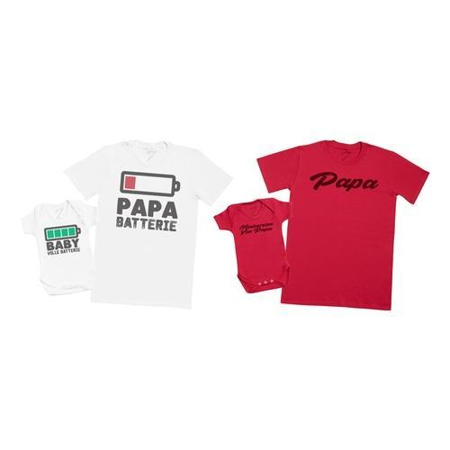 2 T-Shirts für Vater und Baby: Baby Voll Batterie - Papa Batterie /L / 0-3 Monate