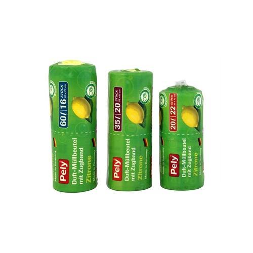 400x Pely Clean Zugband-Beutel mit Zitronenduft 35 l