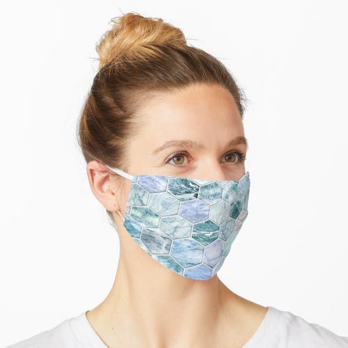 Ice Blue und Jade Stein und Marmor Hexagon Fliesen Maske