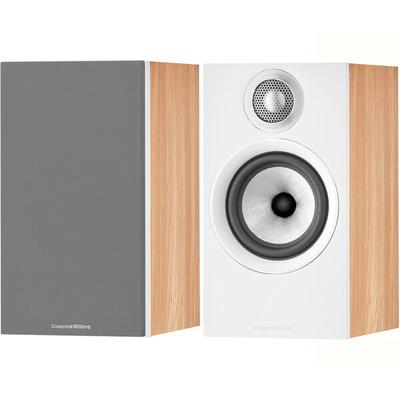 B&W 607 Anniversary Ed Oak/Wht pr bookshelf speakers (Oak/White)