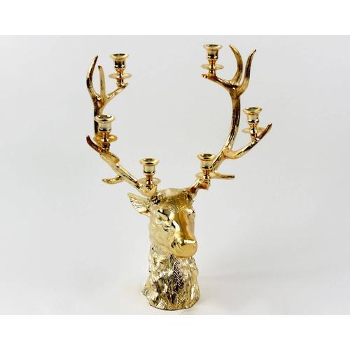 VOSS Design »Hirschkopf« Kerzenhalter gold für 6 Kerzen