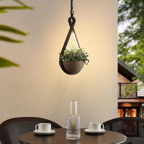 Lucande Florka LED-Außenhängeleuchte, Blumenampel