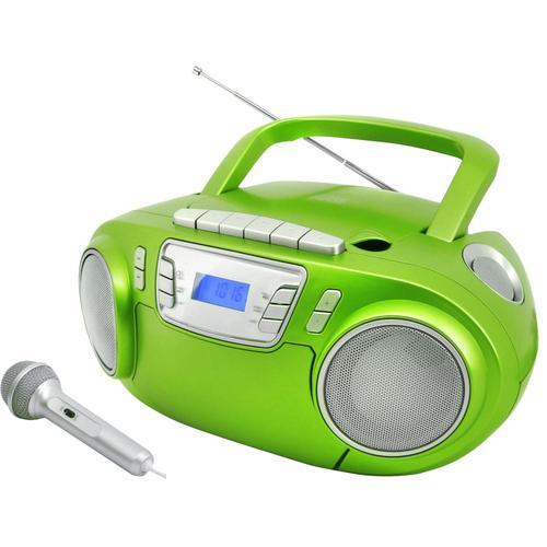CD-Boombox mit Discolicht + Mikrofon, grün