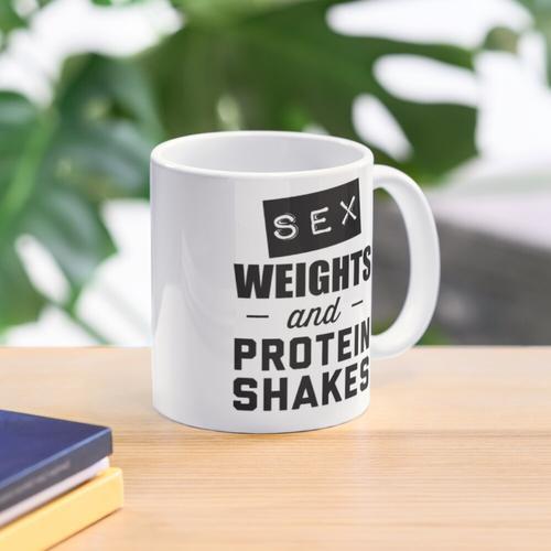 Sex-Gewichte und Proteinshakes Tasse