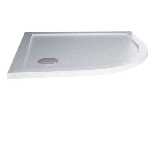 Duschwanne 80x80x4 cm mit Erhöhte Kante Halbkreis Weiß mit Stein-Effekt mod. Flower