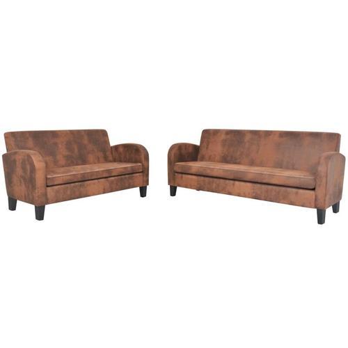Sofa-Set 2-tlg. Wildleder-Optik Braun