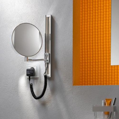 Emco Universal LED Rasier- und Kosmetikspiegel, rund, Wandmodell, mit Gleitschiene 109506012, EEK: A+