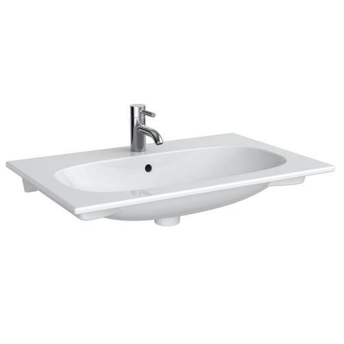 Geberit Acanto Möbel-Waschtisch Slim B: 75 T: 48 cm weiß, mit KeraTect, mit 1 Hahnloch 500641018