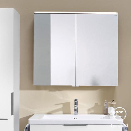 Burgbad Eqio Spiegelschrank mit LED-Beleuchtung B: 100 H: 80 T: 17 cm, 2 Türen weiß glanz, ohne Waschtischbeleuchtung SPGS100F2009, EEK: A+