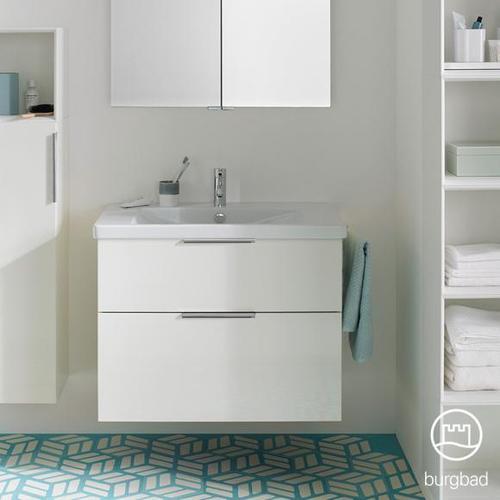Burgbad Eqio Waschtisch mit Waschtischunterschrank B: 83 H: 64,5 T: 49 cm, mit 2 Auszügen Front weiß hochglanz / Korpus weiß glanz, Griff chrom SEYQ083F2009C0001G0146
