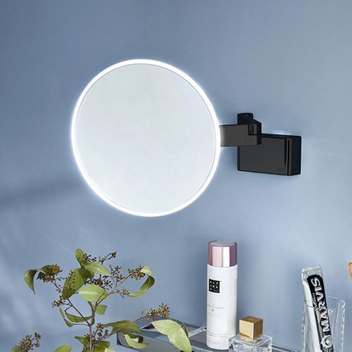 Emco Evo LED Rasier- und Kosmetikspiegel Ø 209 mm, mit Direktanschluss schwarz 109513330, EEK: A+