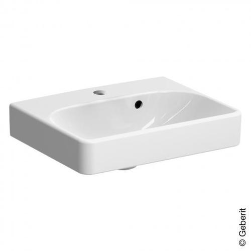 Geberit Smyle Square Handwaschbecken mit asymmetrischen Überlauf B: 45 T: 36 cm weiß 500222011